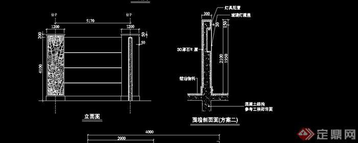 现代木栅栏围墙设计cad施工图