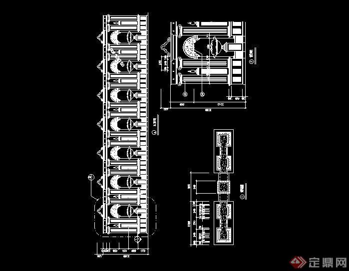 欧式花钵景墙设计cad施工图