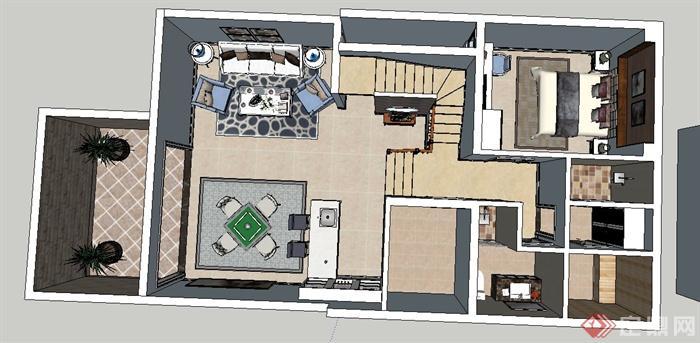 现代某模型一层室内装修设计SU别墅[原创]定制家具设计难度图片