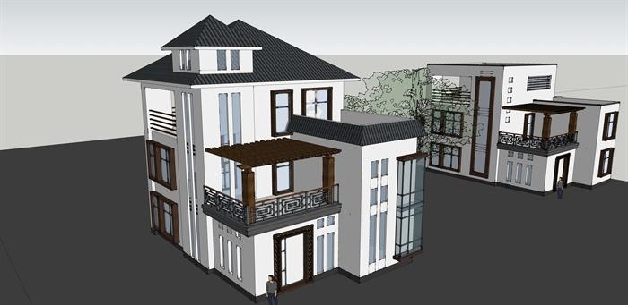 中式独栋小别墅建筑设计su模型