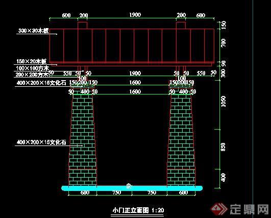 现代石材木架大门设计cad施工图