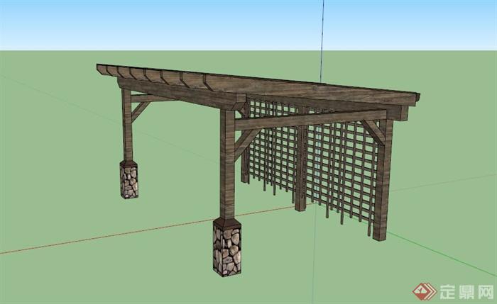 现代中式玻璃棚木廊架设计su模型(1)