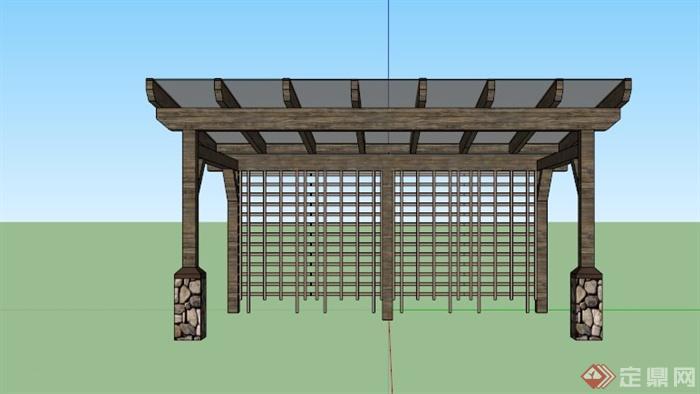 现代中式玻璃棚木廊架设计su模型(4)
