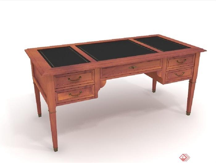 某欧式木质桌子设计3d模型含效果图
