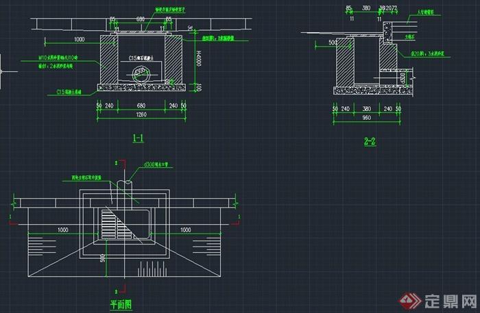 砖砌平箅式单箅雨水口设计cad图图片