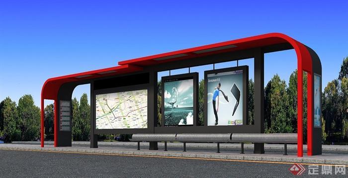 现代某红色公交车站廊架设计3dmax模型
