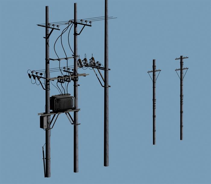 电线杆子,变压器设计3d模型含缩略效果图[原创]
