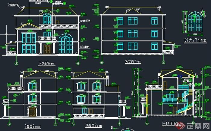 一套两层欧式风格别墅建筑设计cad施工图图片