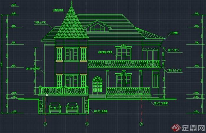 欧式两层带停车场别墅建筑设计cad施工图