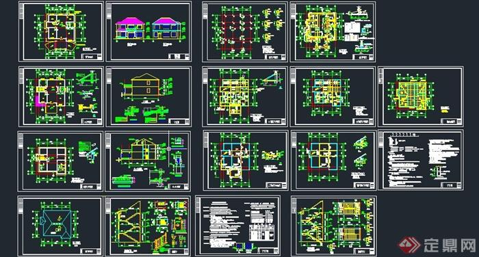 两层欧式别墅建筑设计cad施工结构图