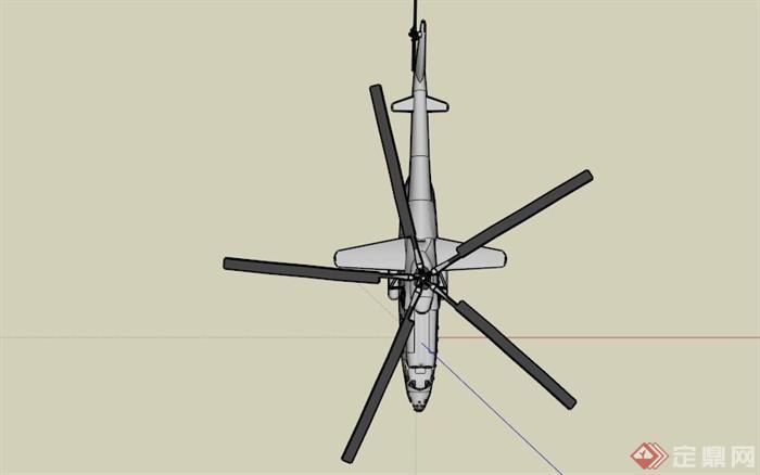 现代军用直升飞机设计su模型