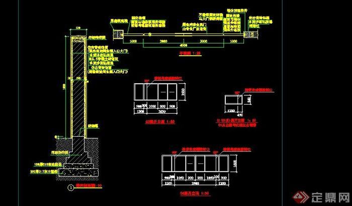 古典中式格栅大门设计cad详图