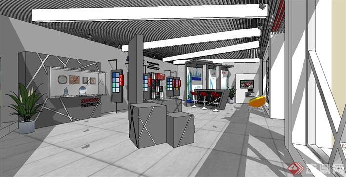 汽车油漆展厅室内装修设计SU模型