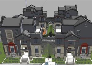 某地保利越合院别墅建筑设计SU(草图大师)模型