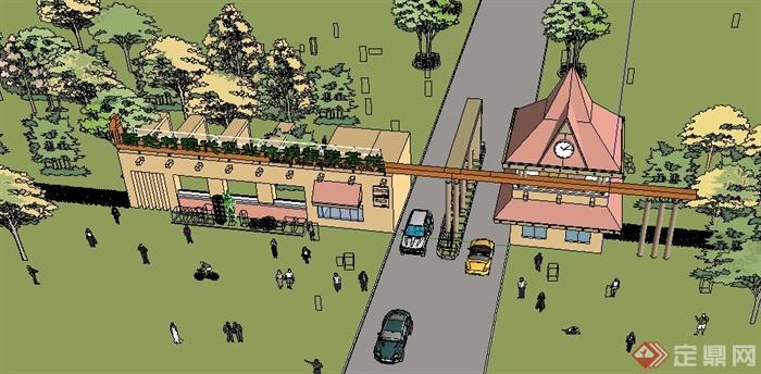 欧式风格某旅游景观入口大门设计su模型(3)