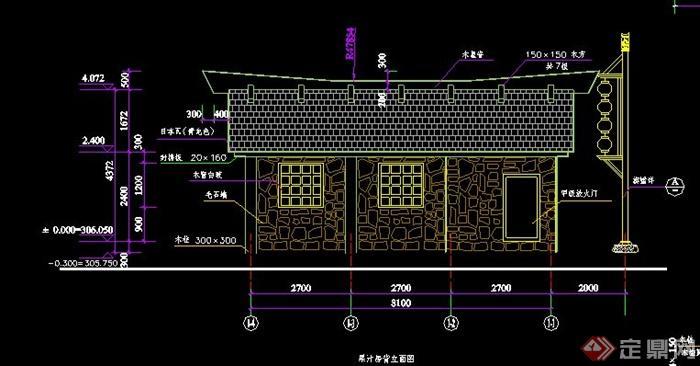 某现代中式砖瓦结构房子cad施工详图