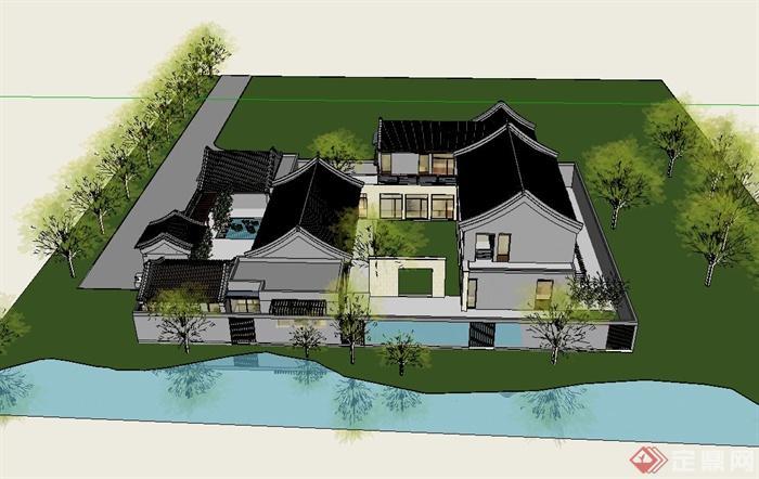 现代中式合院模型建筑设计su风格[原创]小型别墅设计装修酒店图片