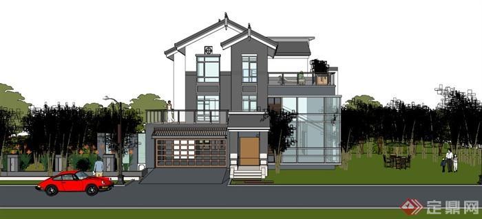 现代中式小独栋中庭v中庭SU玻璃[原创]模型别墅顶别墅图片
