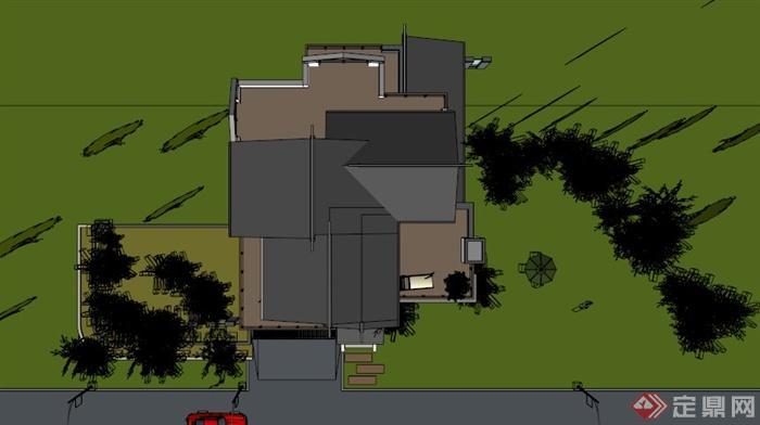现代中式小独栋别墅v别墅SU模型[原创]合谷绿色别墅南京图片