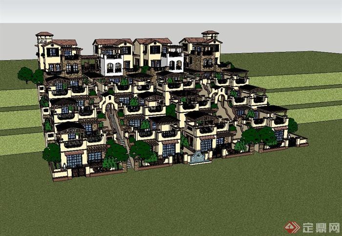 某欧式退台叠院别墅建筑设计su模型(2)