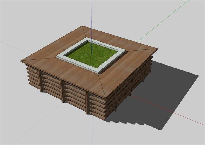 某现代方形树池设计su模型(1)