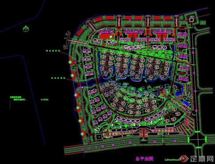 大型住宅小区规划设计cad方案图[原创]