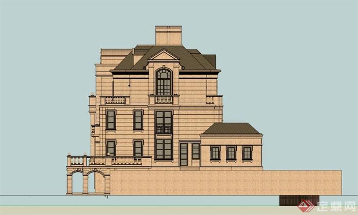 法式四层豪华别墅设计SU模型