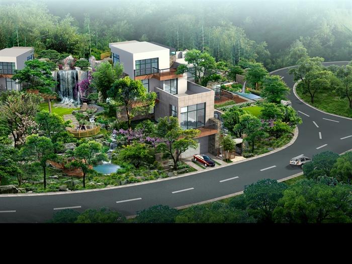 某现代别墅建筑设计鸟瞰效果图源文件高清图片