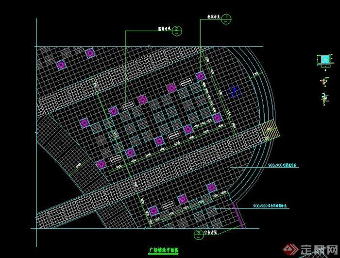 某现代广场铺装平面图