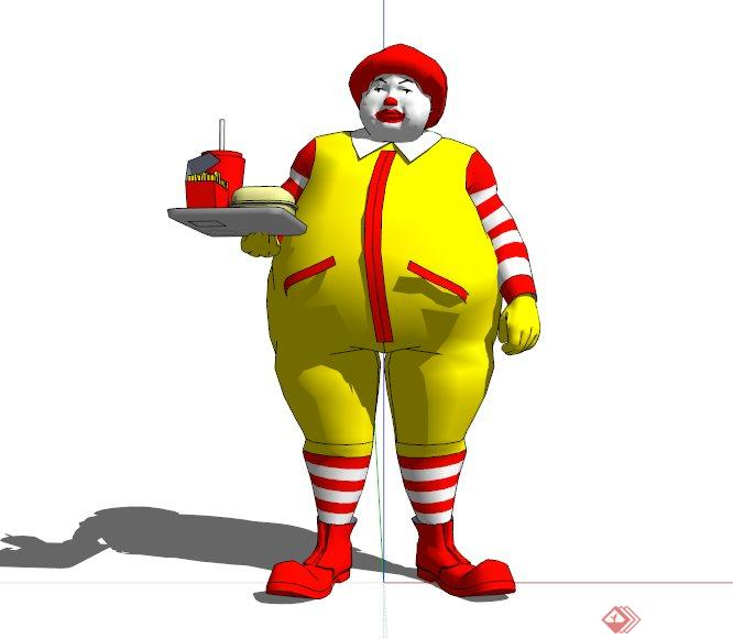 现代麦当劳大叔人物雕塑设计su模型