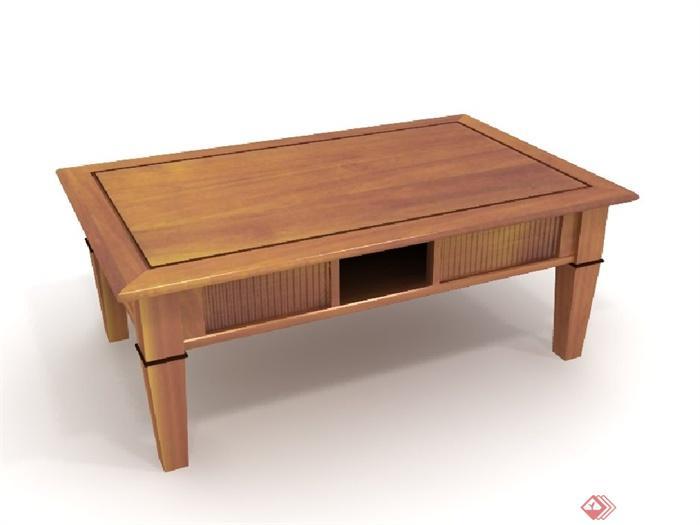 现代风格木质桌子设计3d模型韩效果图