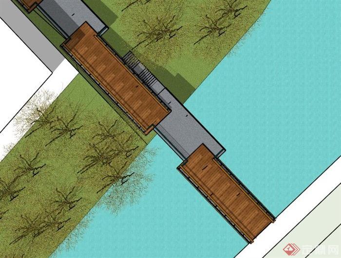 现代木栈道园桥设计su模型