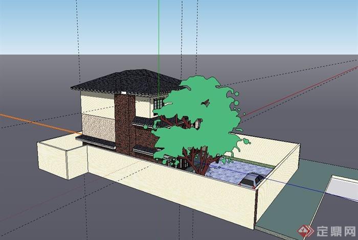 现代三层独栋小别墅建筑设计su模型图片