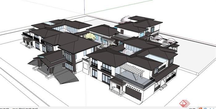 现代中式四合院会所设计su建筑[原创]