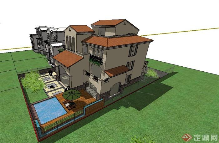 欧式含庭院别墅建筑设计su模型(5)