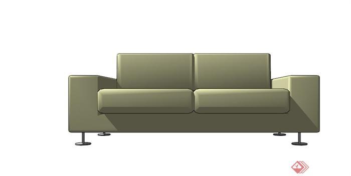 现代双人皮质沙发设计su模型(3)