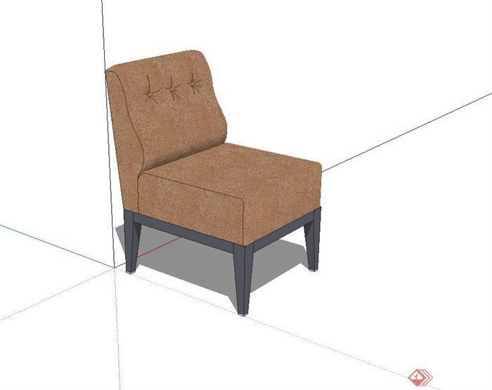 某现代皮质沙发椅子设计su模型(2)