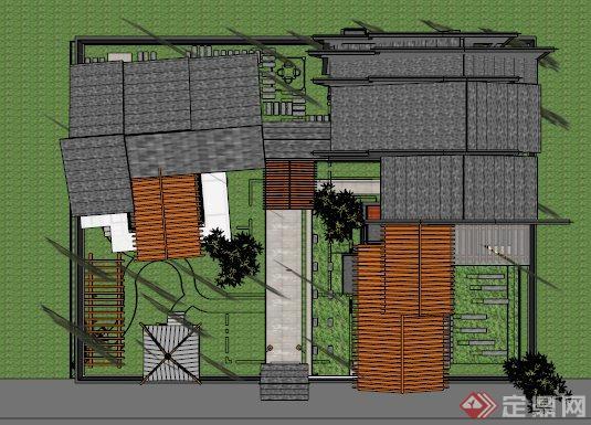 帶院落帶景觀中式別墅設計su模型(3)