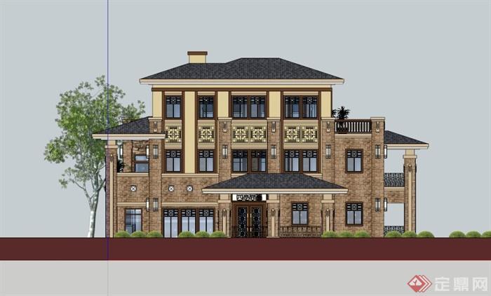 欧式三层别墅设计建筑设计su模型[原创]