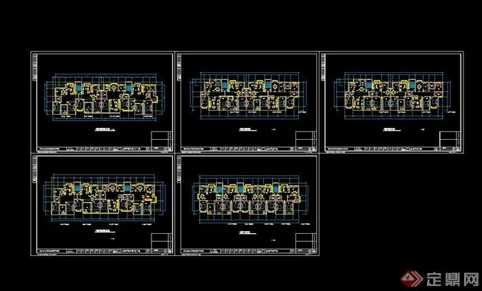 住宅小区住宅楼平面布置cad方案图图片