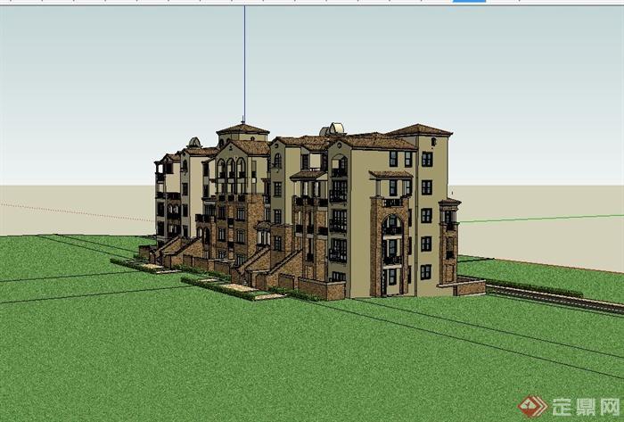 西班牙风格大别墅住宅楼建筑设计su模型[原创]