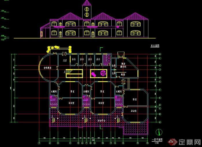 欧式风格幼儿园建筑设计cad方案图[原创]