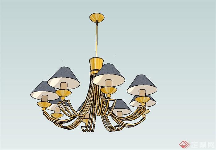 欧式风格室内吊灯设计su模型(1)