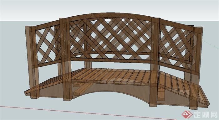 木质景观桥设计su模型[原创]