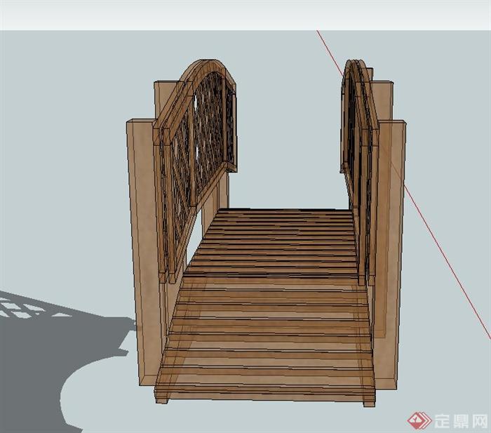 木质景观桥设计SU模型