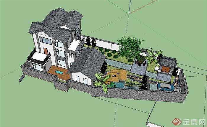 大理民居别墅住宅楼建筑设计su模型含庭院[原创]