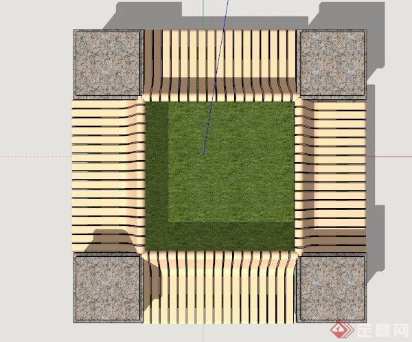 园林树池坐凳设计su模型(2)