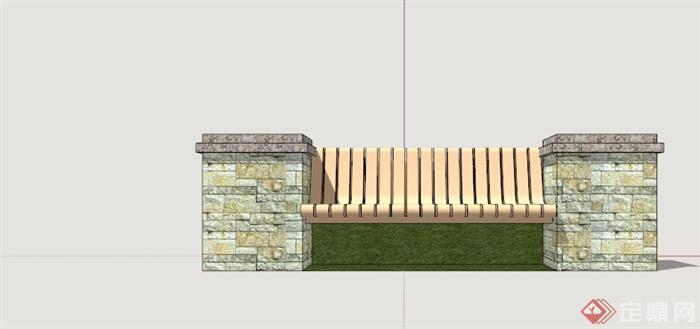 园林树池坐凳设计su模型(3)