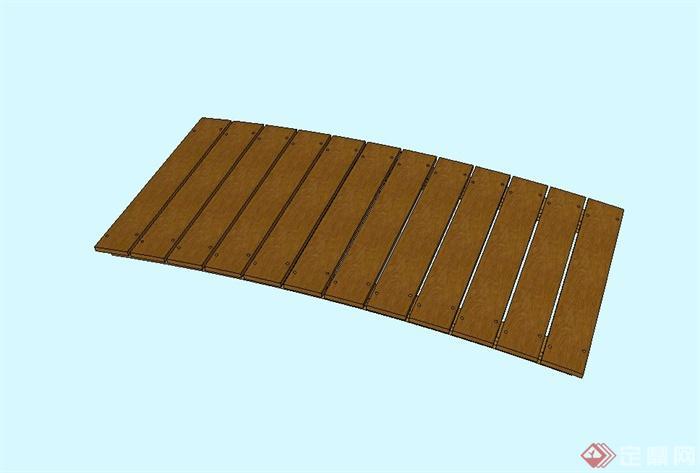 现代木质景观桥设计su模型
