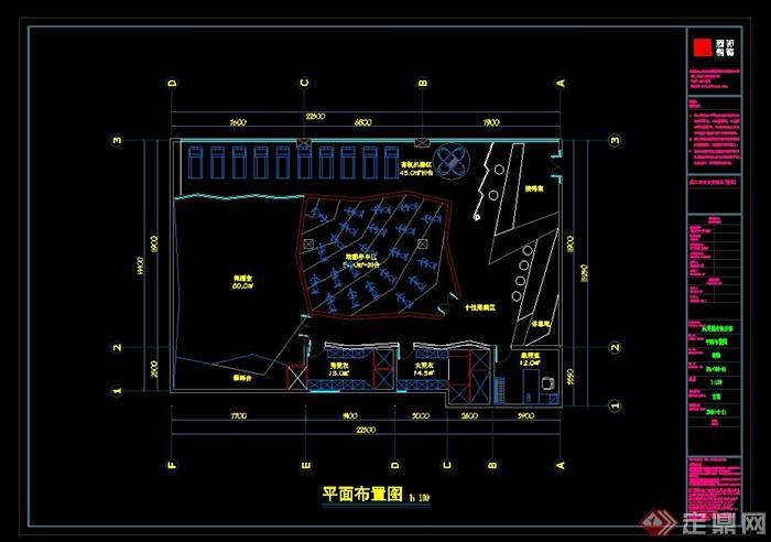 某现代健身房设计cad平面方案(1)